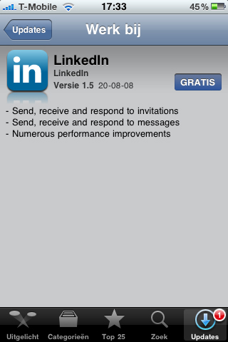 LinkedIn update in de App Store