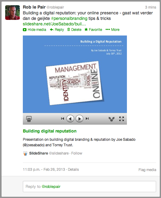 SlideShare in tweet 2
